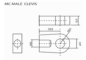 male clevis mount